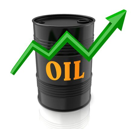 arrow poison: oil barrel and upward graph 3d illustration