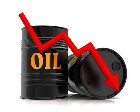 oil drum: oil barrel and downward graph 3d illustration
