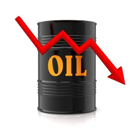 oil barrel and downward graph 3d illustration