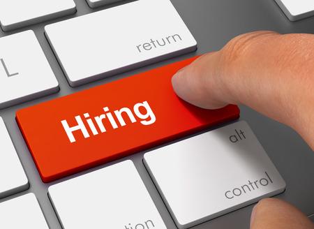 hiring pushing keyboard with finger 3d illustration