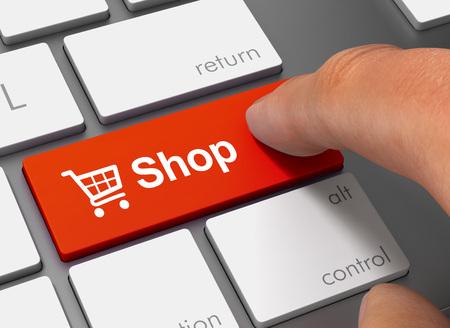 shop pushing keyboard with finger 3d illustration Stock Photo