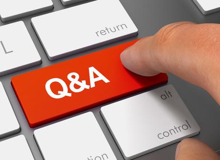 q y cien teclado con el dedo ilustración 3d concepto