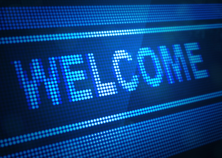welcome digital screen 3d illustration with blue colour