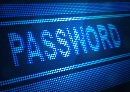 password digital screen 3d illustration with blue colour