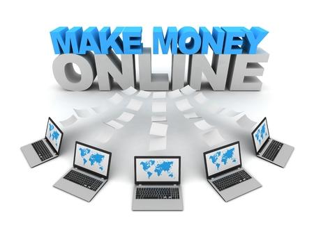 make money online and laptops data transfer 3d concept illustration isolated on white background