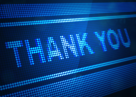 thank you digital screen 3d illustration with blue colour
