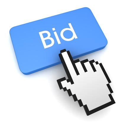 pushing bid button key concept 3d illustration Stock Photo