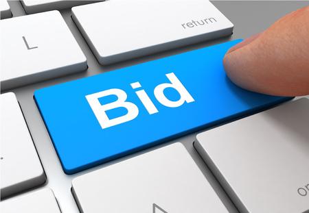 pushing bid button key concept 3d illustration Standard-Bild