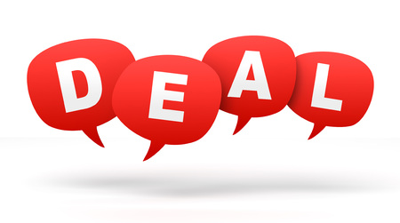 deal speech bubbles 3d concept illustration isolated on white background