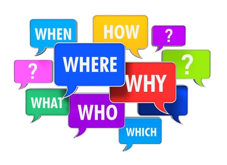 questions speech bubbles concept 3d illustration isolated on white background Stockfoto