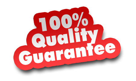 quality guarantee concept 3d illustration isolated on white background Archivio Fotografico - 105265039