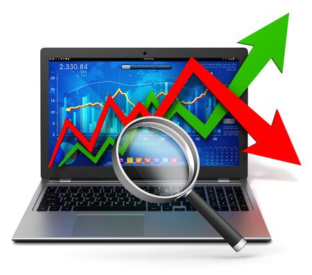 laptop and business finance graph 3d illustration