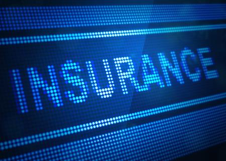 insurance digital screen 3d illustration Stock Photo