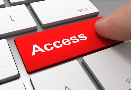 Pulsando el botón de acceso clave concepto ilustración 3d Foto de archivo