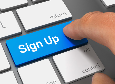 sign up pushing keyboard with finger 3d concept illustration