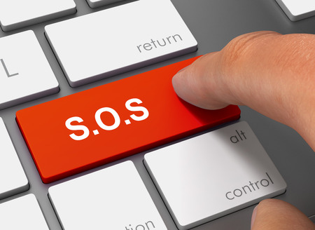 sos pushing keyboard with finger 3d concept illustration Stock Photo