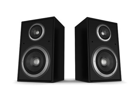 Lautsprecherkonzept 3d Illustration lokalisiert auf weißem Hintergrund