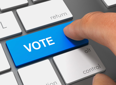 vote pushing keyboard with finger 3d concept illustration