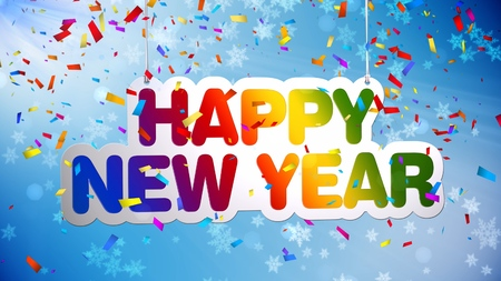 happy new year concept 3d illustration colorful