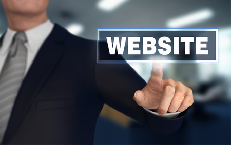website      with finger pushing concept 3d illustration