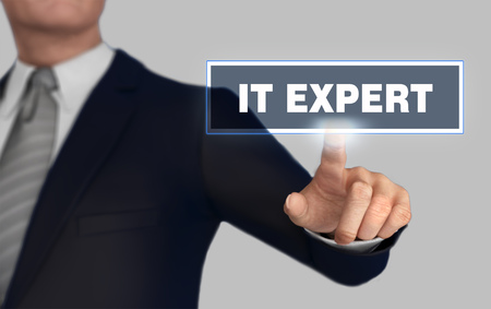 it expert      with finger pushing concept 3d illustration