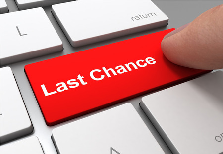 last chance push button concept 3d illustration isolated Stok Fotoğraf
