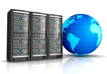 network workstation server with globe earth 3d illustration isolated on white background