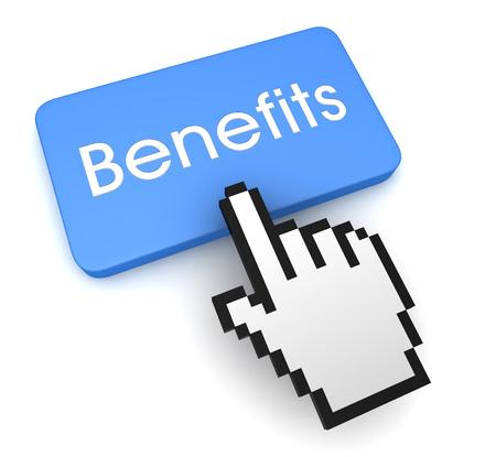 pushing benefits button key concept 3d illustration 스톡 콘텐츠