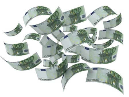 flying money bills 3d illustration on white background
