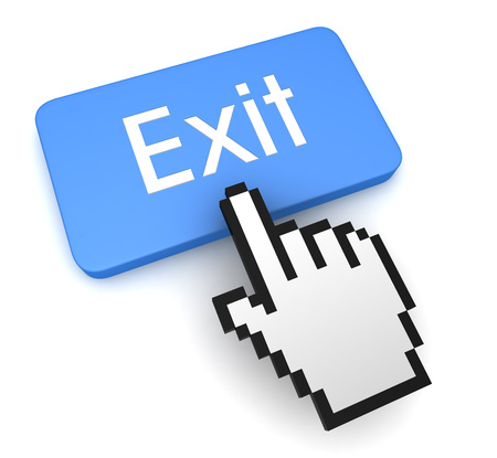 exit push button concept 3d illustration isolated