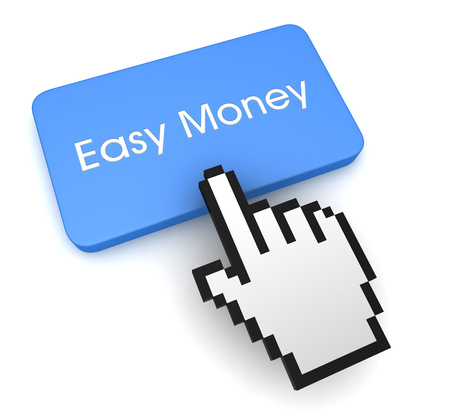 easy money push button concept 3d illustration isolated