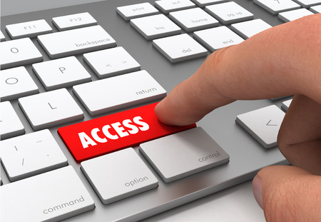 pushing access button key concept 3d illustration Stock Photo