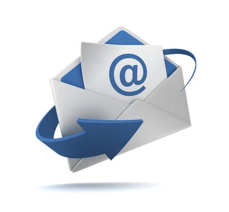 e mail and envelope  isolated on white background 3d illustration Reklamní fotografie
