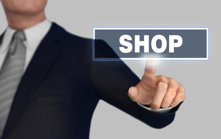 shop      with finger pushing concept 3d illustration