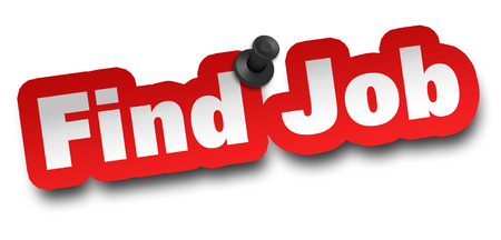 find job concept 3d illustration isolated on white background