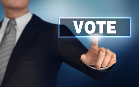 vote      with finger pushing concept 3d illustration Standard-Bild - 120725705