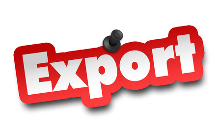 export concept 3d illustration isolated on white background Standard-Bild - 120725726