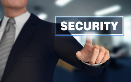 security      with finger pushing concept 3d illustration