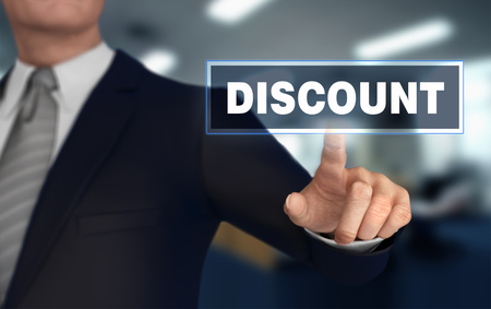 discount      with finger pushing concept 3d illustration