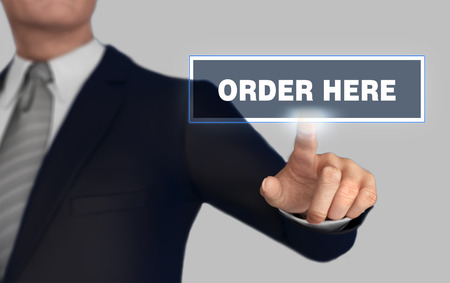 order here      with finger pushing concept 3d illustration Imagens