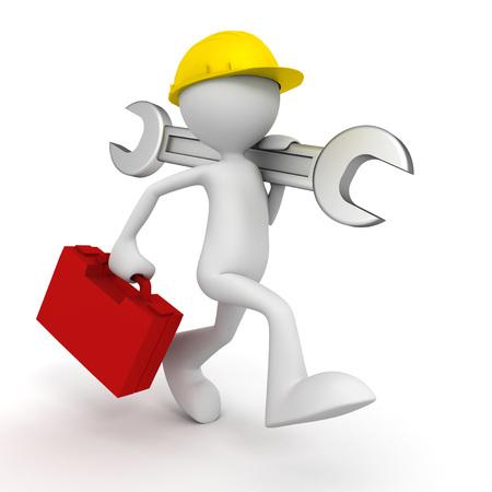 repair service man 3d illustration isolated on white background Standard-Bild - 120725629