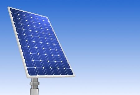 solar panel concept 3d illustration on sky background Standard-Bild - 120725658