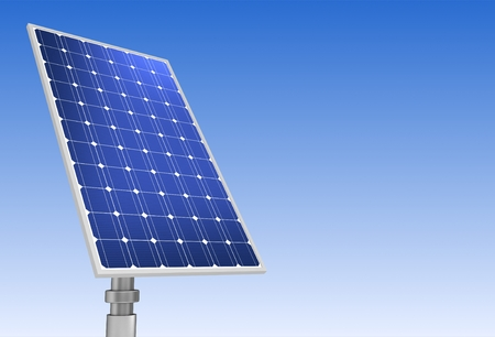 solar panel concept 3d illustration on sky background Stock Photo