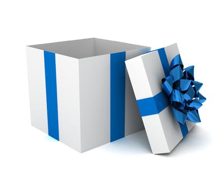 opened gift box 3d illustration isolated on white background Standard-Bild - 120725759