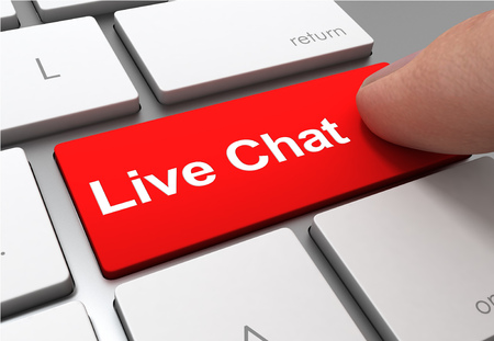 live chat push button concept 3d illustration isolated Standard-Bild - 120725773