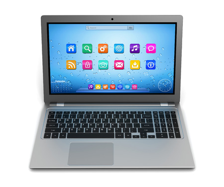 modern laptop computer single 3d illustration isolated