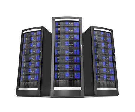 Ilustración 3d de servidores de estación de trabajo de red aislado sobre fondo blanco. Foto de archivo