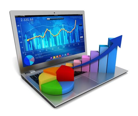 laptop and business finance graph chart 3d illustration
