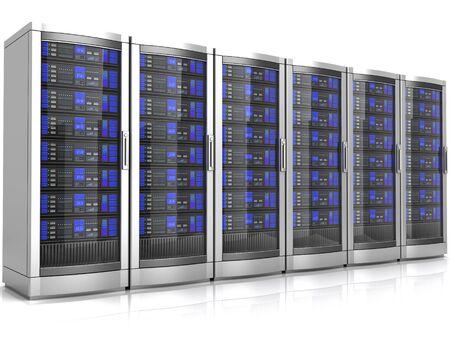 network workstation servers 3d illustration isolated on white background Foto de archivo