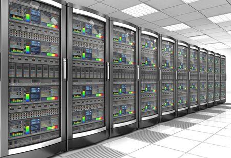 network workstation server room concept 3d illustration Foto de archivo